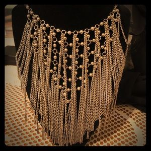 Metallic fringe necklace